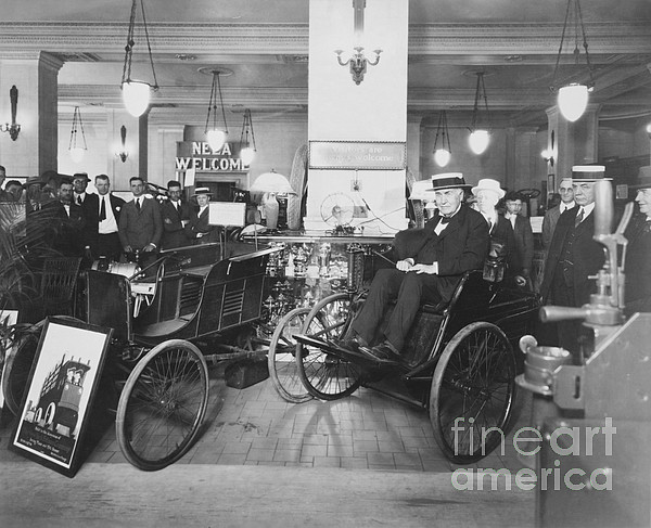 Thomas Edison In Quadricycle Print by Photo Researchers