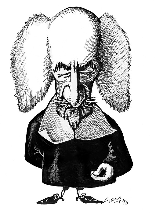 Thomas Hobbes, Caricature Print by Gary Brown