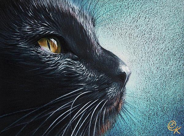 Thoughtful Cat Print by Elena Kolotusha