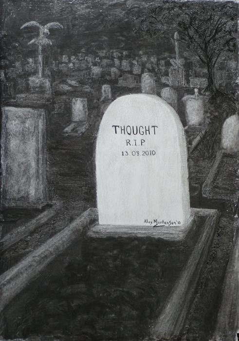 Thoughts  Silent As The Grave Print by Alex Mortensen