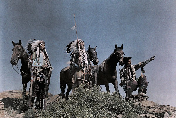 Three American Indians On The Crow Print by Edwin L. Wisherd
