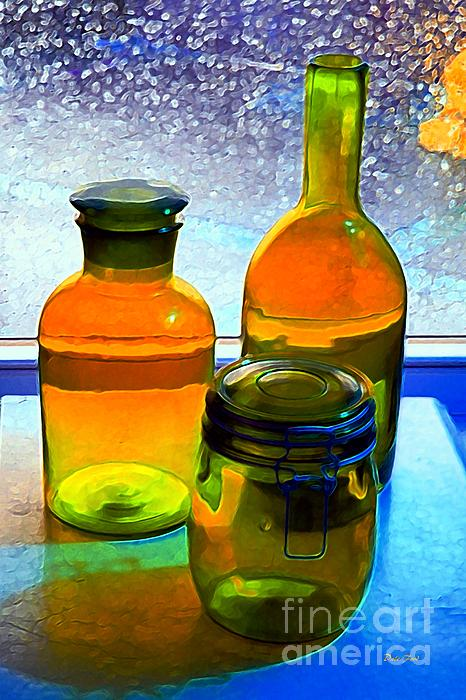 Three Bottles In Window Print by Dale   Ford