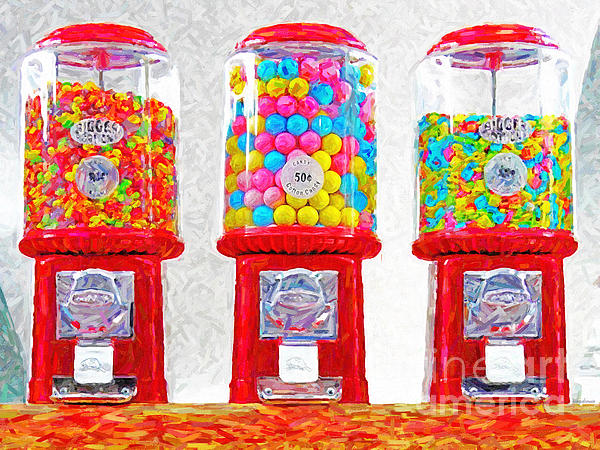Three Candy Machines Print by Wingsdomain Art and Photography