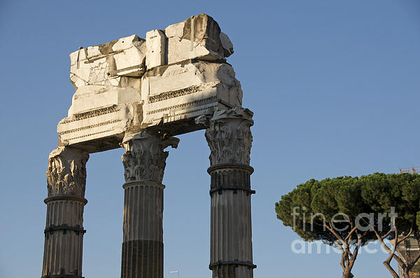 Three Columns And Architrave Temple Of Castor And Pollux Forum Romanum Rome Print by Bernard Jaubert