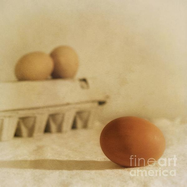 Three Eggs And A Egg Box Print by Priska Wettstein