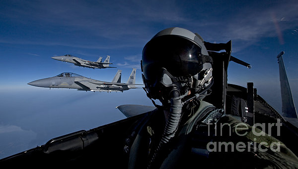Three F-15 Eagles Fly High Print by HIGH-G Productions