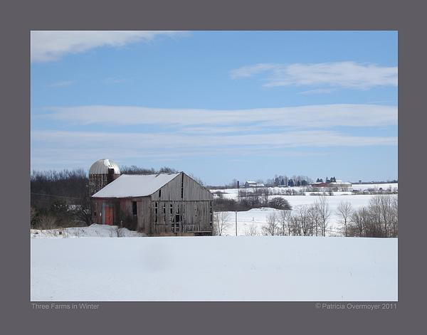 Three Farms In Winter Print by Patricia Overmoyer