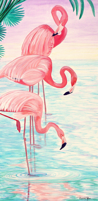 Pauline Ross - Three Flamingos