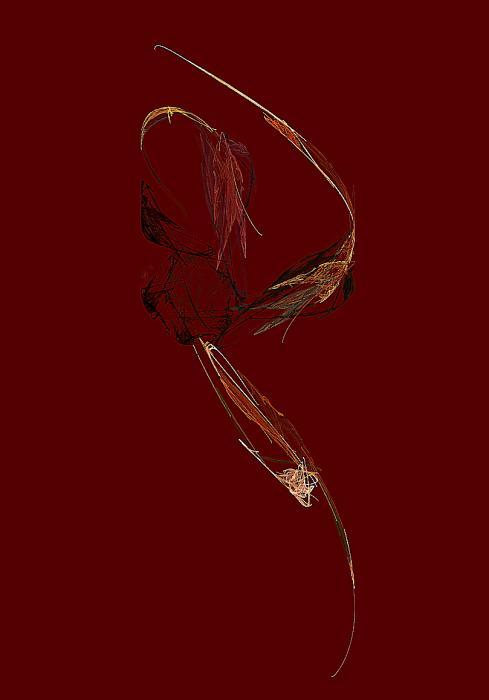 Three Flowers And Leaf Print by Viktor Savchenko