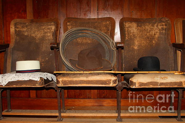 Three Hats A Lasso And A Cane At The Old Movie Theater . 7d12726 Print by Wingsdomain Art and Photography