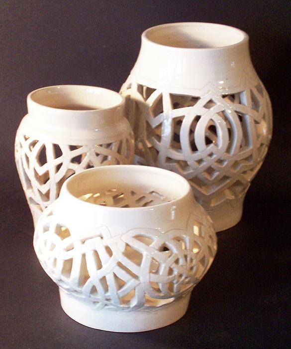 Three Interlaced Design Wheel Thrown Pots Print by Carolyn Coffey Wallace