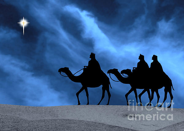 Three Kings Travel By The Star Of Bethlehem - Midnight Print by Gary Avey