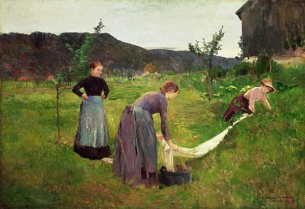 Three Ladies Washing Print by Harriet Backer