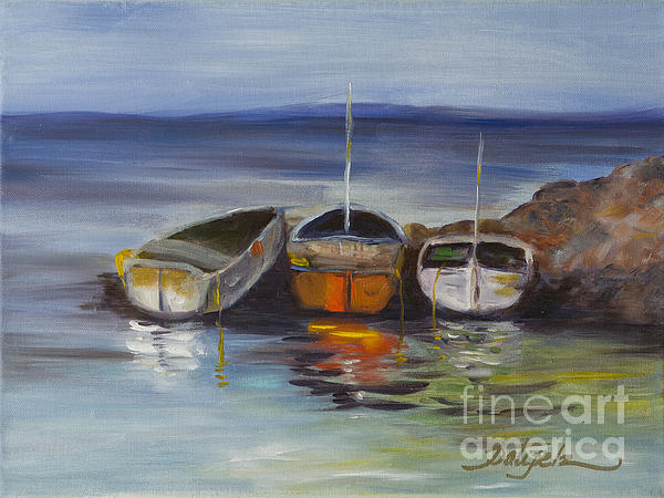 Three Lonely Boats Print by Pati Pelz