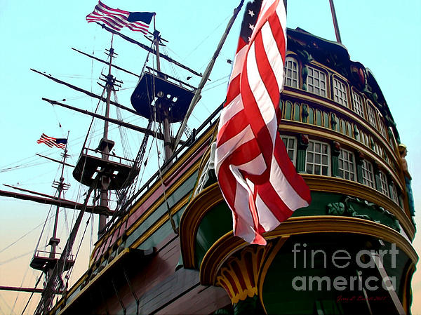 Three Masted Ship Print by Jerry L Barrett