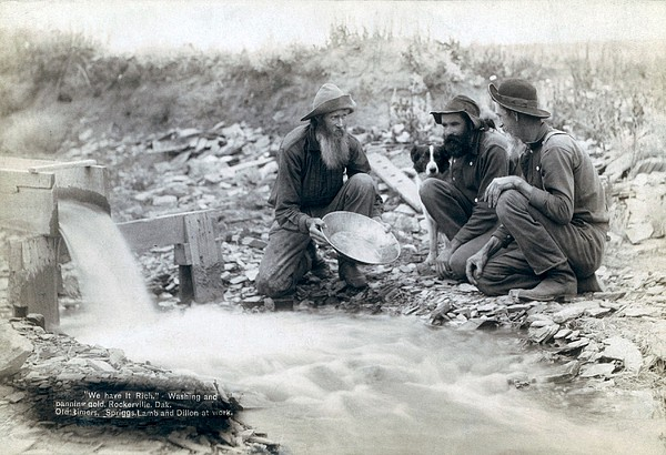 Three Men, With Dog, Panning For Gold Print by Everett