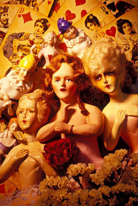 Three Old Dolls Print by Garry Gay