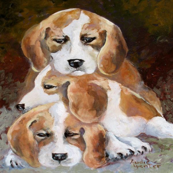 Three Puppies Print by Audie Yenter