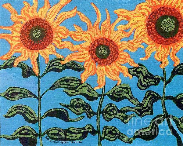 Three Sunflowers II Print by Genevieve Esson