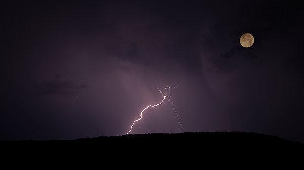 Thunderstorm, Thunderbolt, Lightning, Flash Moon Print by Rainer Pfingst
