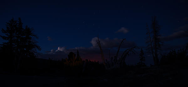 Thunderstorm With Wildfire Glowing From Minarets Vista Mammoth Lakes California Print by Scott McGuire