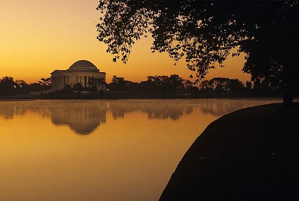 Tidal Basin And Jefferson Memorial Print by Kenneth Garrett