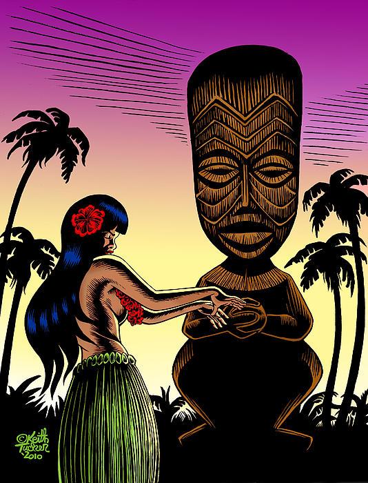 Tiki Sunset Print by Keith Tucker