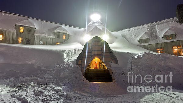 Timberline Lodge Entry Mt Hood Snowdrifts Print by Dustin K Ryan