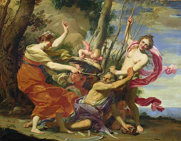 Time Overcome By Youth And Beauty Print by Simon Vouet