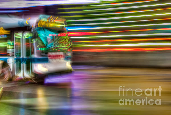 Times Square Bus Print by Clarence Holmes