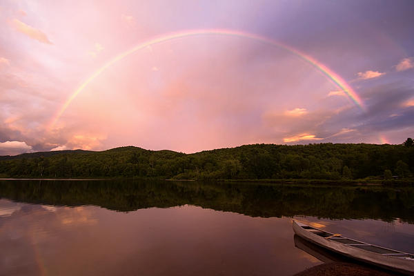 Timing Is Divine Rainbow Over Vermont Mountains Print by Stephanie McDowell