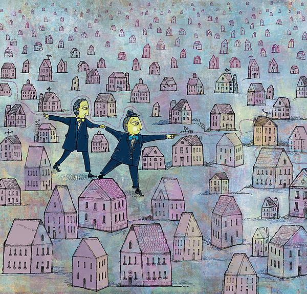 Tip Toe Through The Neighborhood Print by Dennis Wunsch