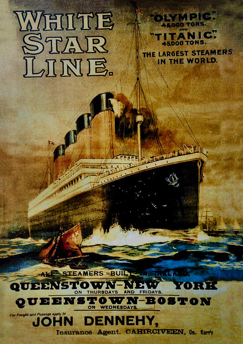 Titanic - White Star Line Print by Bill Cannon