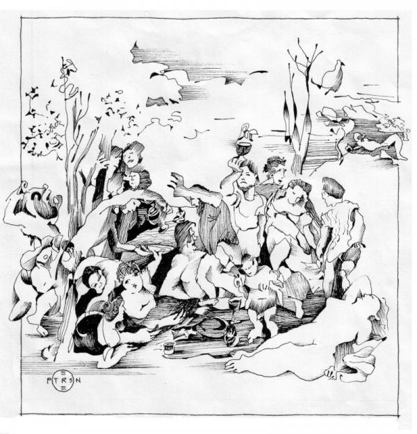 Titian Bacchanalia Drawing