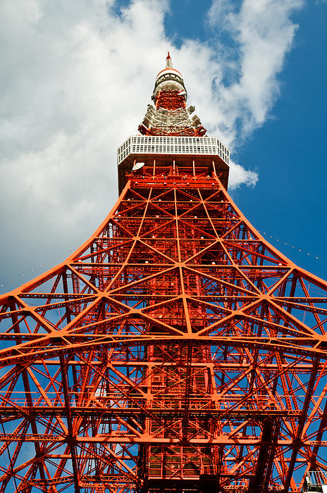 Tokyo Tower Face Cloudy Sky Print by Ulrich Schade