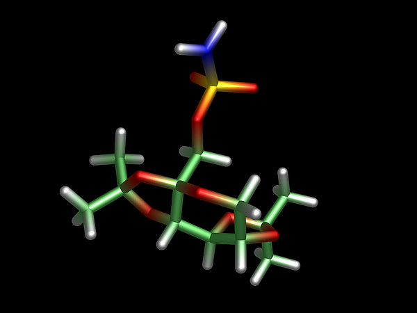 Topiramate Molecule, Anti-epilepsy Drug Print by Dr Tim Evans