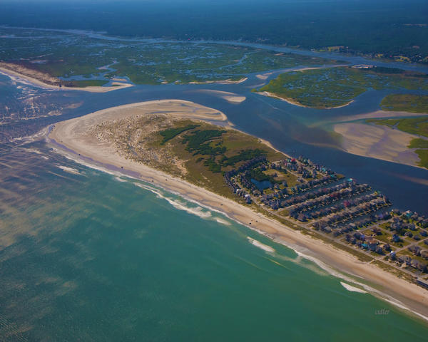 Topsail Island Aerial Print by Betsy A  Cutler