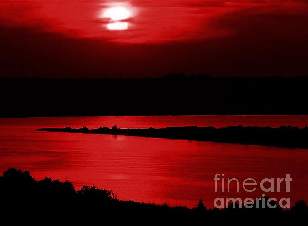 Topsail Island Blood-red Sunset Print by Julie Dant