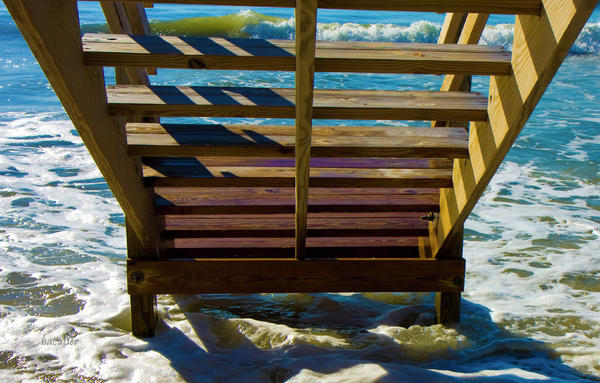 Topsail Island Ocean Steps Print by Betsy A  Cutler