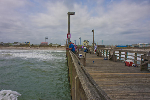 Topsail Island Sc Pier Print by Betsy A  Cutler