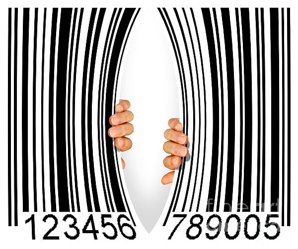 Torn Bar Code Print by Carlos Caetano