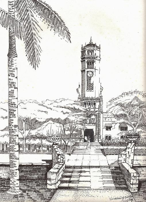 Torre De La Universidad De Puerto Rico Print by Juan  Salazar