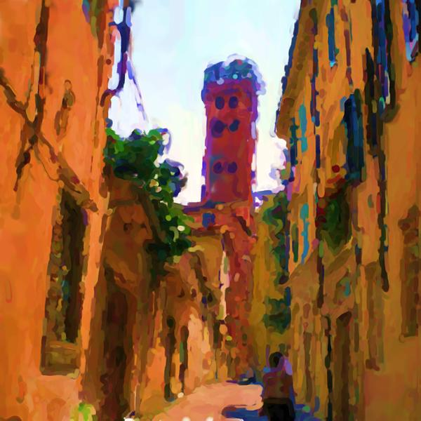 Torre Guinigi Di Lucca Italia Print by Asbjorn Lonvig