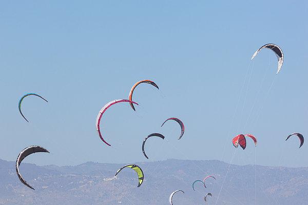 Torremolinos, Spain  Kite Surfing Print by Ken Welsh