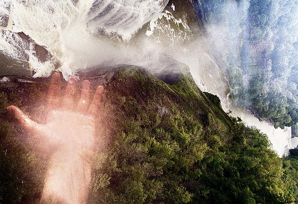 Touching The Falls Print by Sara Roger