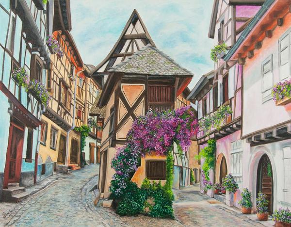Touring In Eguisheim Print by Charlotte Blanchard