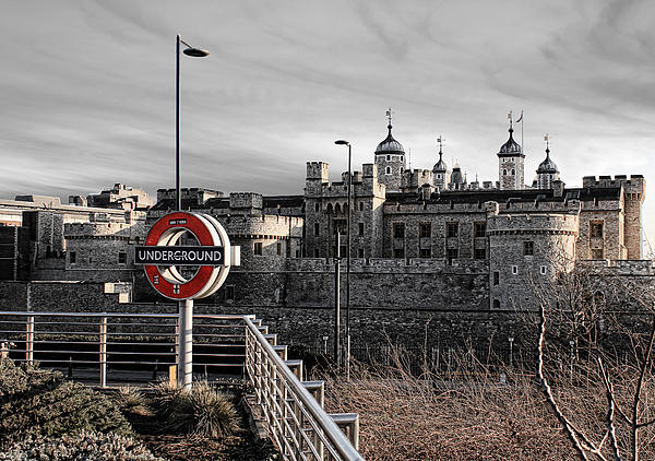 Tower Of London With Tube Sign Print by Jasna Buncic