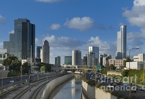 Traffic Flowing In And Out Of Downtown Tel Aviv Print by Noam Armonn