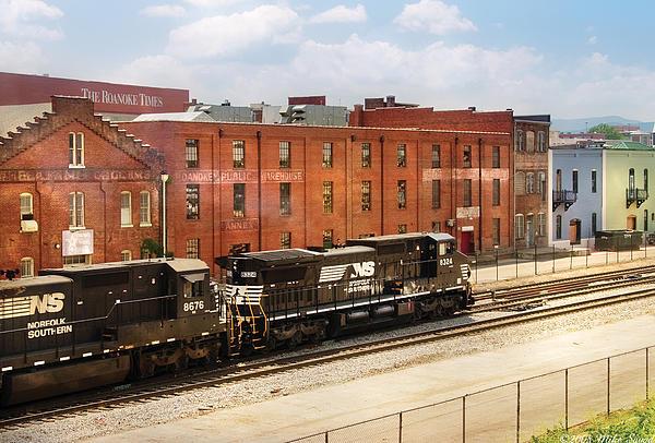 Train - Engine -  Now Arriving In Roanoke Virginia Print by Mike Savad