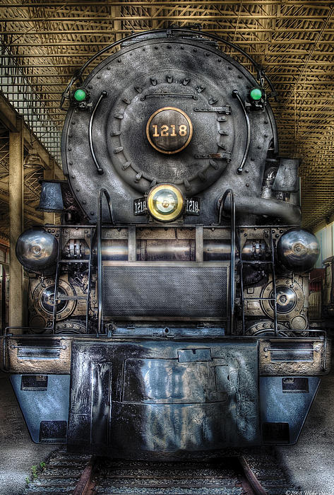 Train - Engine -1218 - Norfolk Western Class A - 1218 - Front View Print by Mike Savad